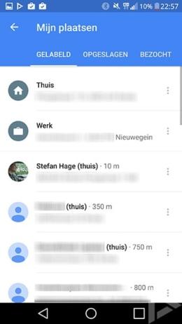 Google Maps 9.25.1 contacten