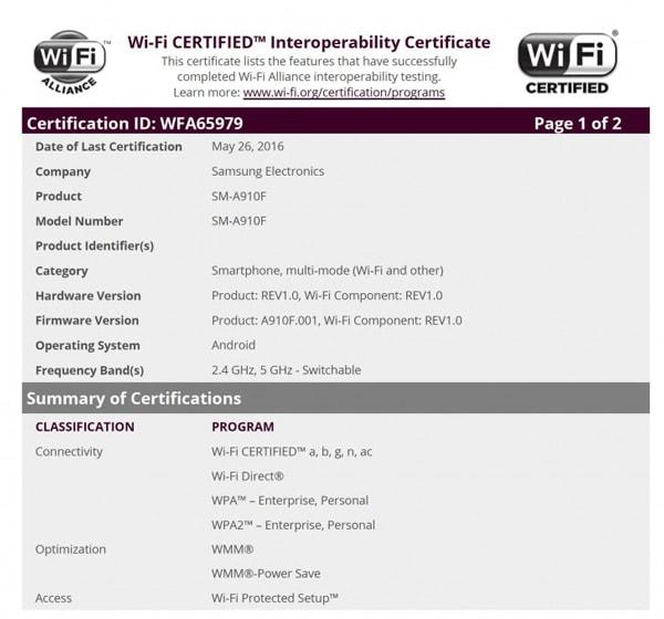 Samsung Galaxy A9 Pro WiFi