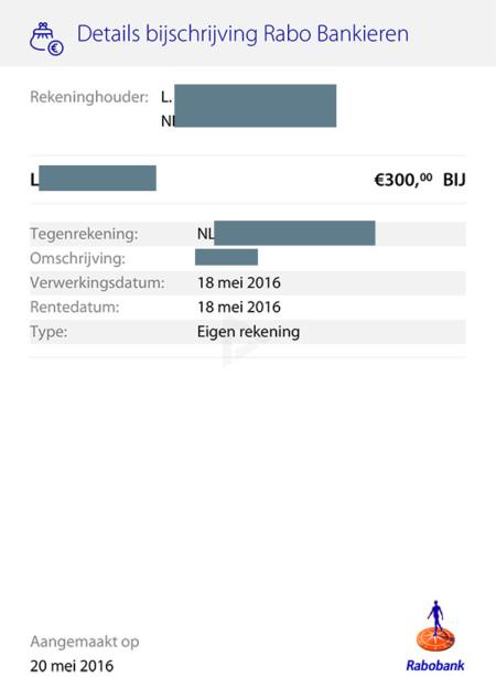 Rabobank transactie delen