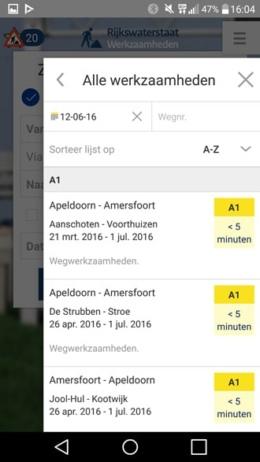 Rijkswaterstaat werkzaamheden app