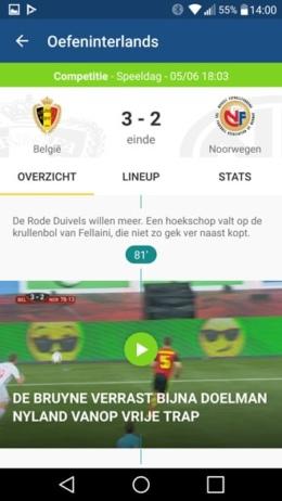 Sporza voetbal app