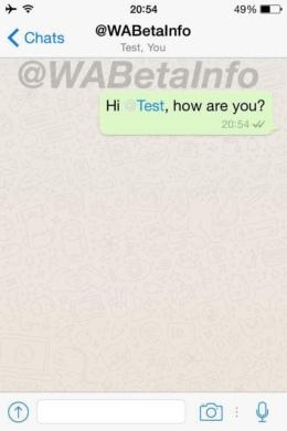 WhatsApp gebruiker vermelden
