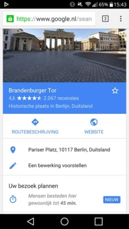 Google Now bezoekduur