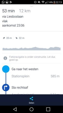 HERE fietsnavigatie