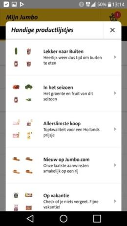 Jumbo app lijsten