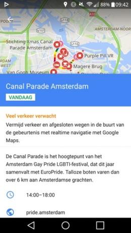 Amsterdam Canal Parade 2016 Google Maps