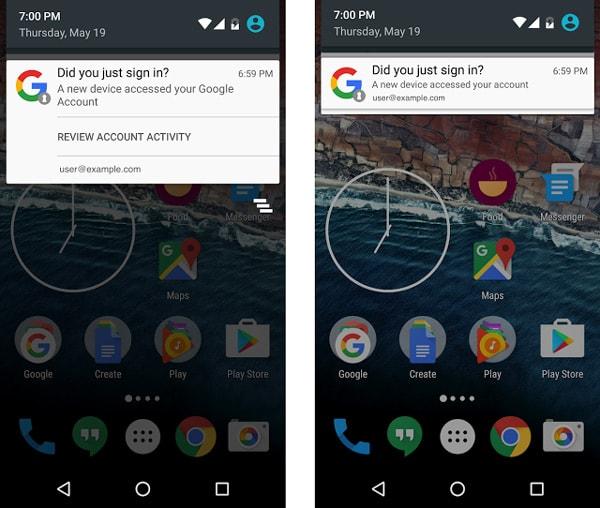 Android notificatie security