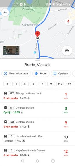 Google Maps bustijden
