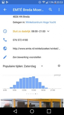 Google Maps drukte indicator