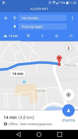 Google Maps offline WiFi