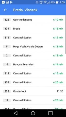 Google Maps openbaar vervoer tijden