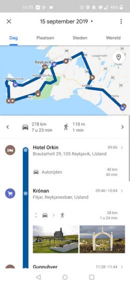 Google Maps tijdlijn
