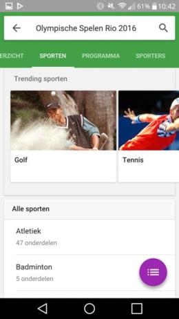 Google Now Olympische Spelen
