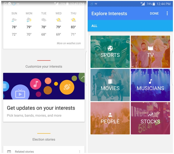 Google Now Explore Interests interesses