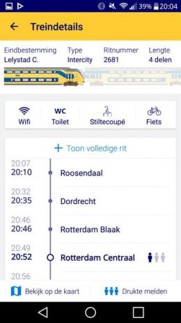 NS app samenstelling trein