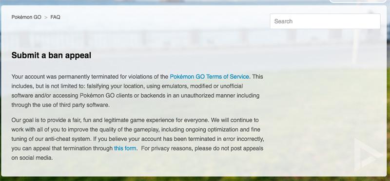 Pokémon GO ban