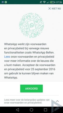 WhatsApp voorwaarden Facebook