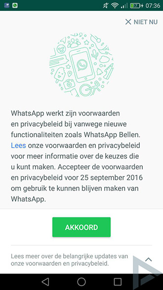 whatsapp data delen uitzetten