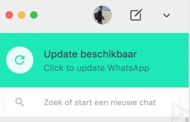 WhatsApp web desktop update beschikbaar