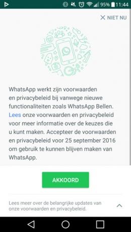 WhatsApp voorwaarden
