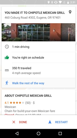 Google Maps v9.35 aankomst scherm