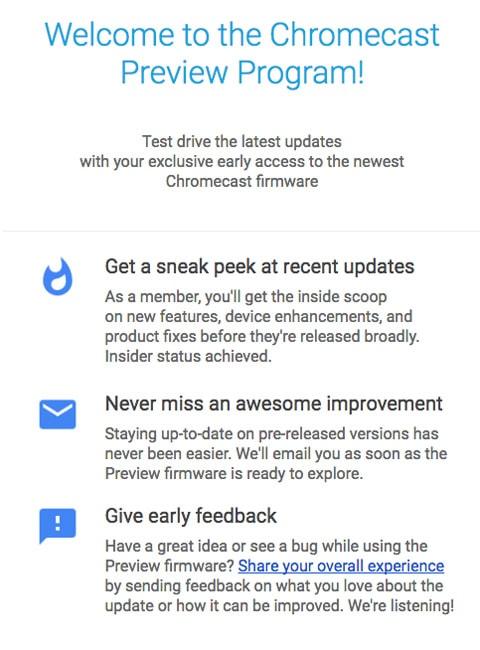 Chromecast Preview Program
