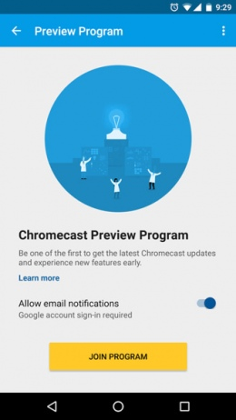 Chromecast Preview Program