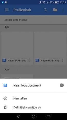 Google Docs Prullenbak