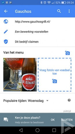 Google Maps 9.38 van het menu