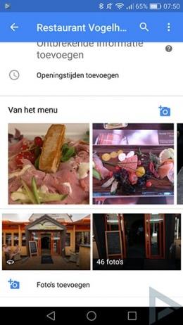 Google Maps 9.38 voedselfoto's
