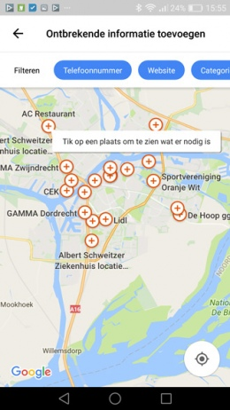 Google Maps ontbrekende informatie