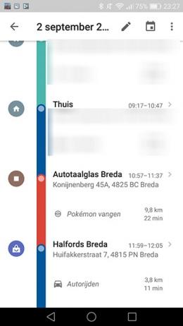 Google Maps Tijdlijn Pokemon