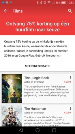 Korting Google Play Movies