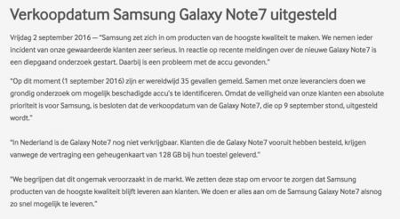 Samsung Galaxy Note7 verkoop Nederland