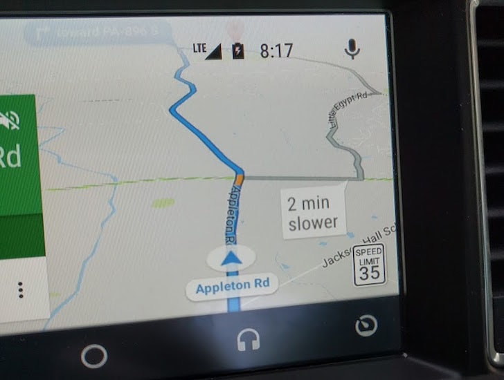 Google Maps maximum snelheid Android Auto
