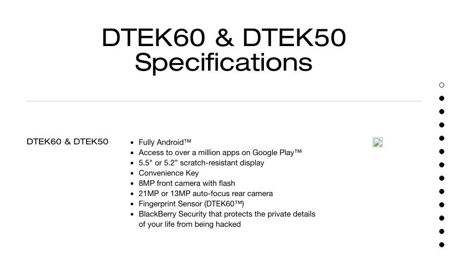 Specs DTEK60
