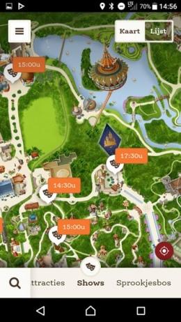 Efteling plattegrond shows