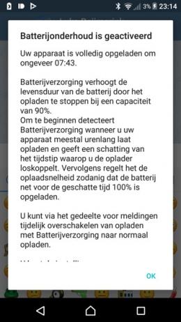 Sony Xperia batterijverzorging