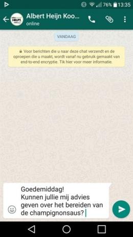 Albert Heijn WhatsApp Kookhulp