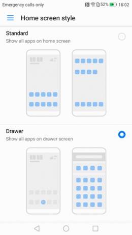 EMUI 5.0 app drawer