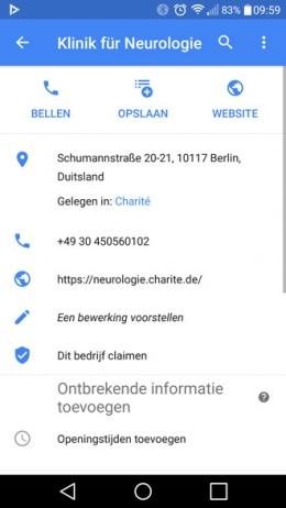 Google Maps afdelingen