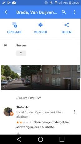 Google Maps bushalte beoordelen