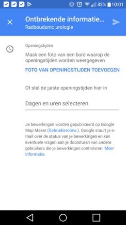 Google Maps openingstijden