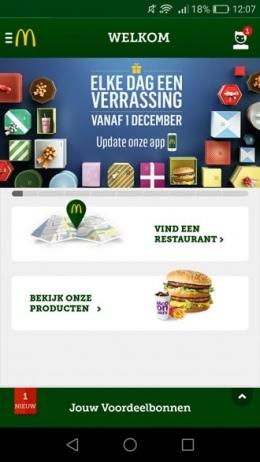McDonald's app Cadeau kalender