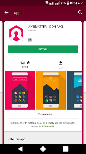 Play Store card interface