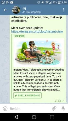 Telegram 3.14 snelle weergave