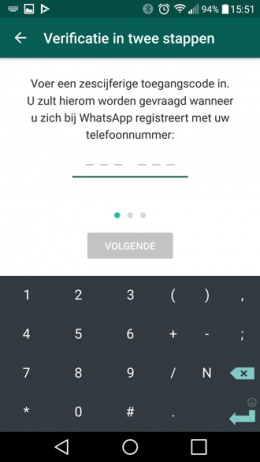 whatsapp tweestaps verificatie