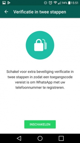 whatsapp verificatie in twee stappen