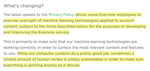Evernote voorwaarden Privacy