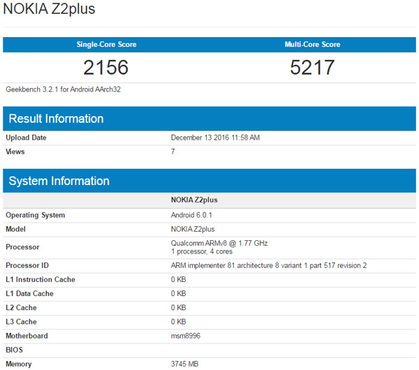 Nokia Z2 Plus benchmark